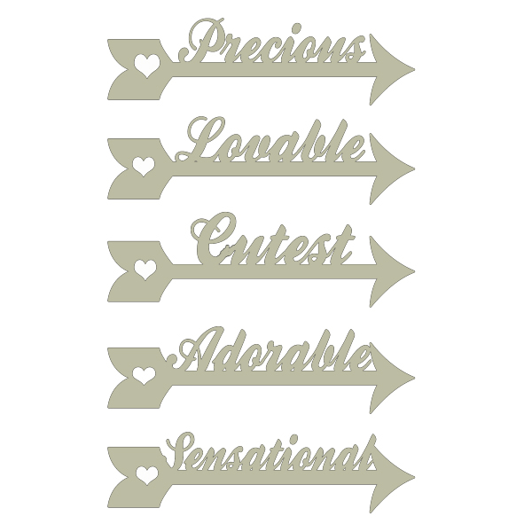 arrow words precious-lovable-cutest-adorable-sensational 100 x 1